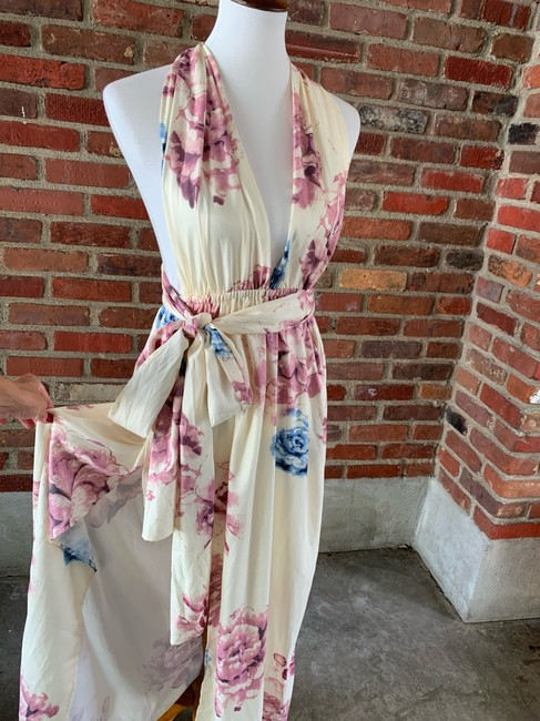 cream, floral Maxi Dress by Lilac Shade Image 4