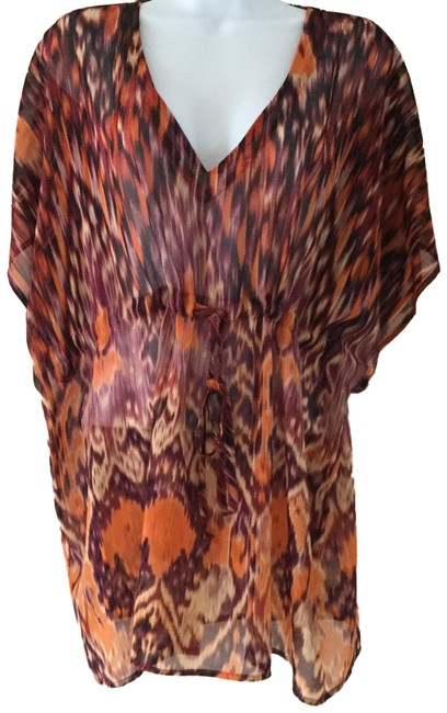 Item - Purple/Orange Print Kimono #415 Ikat Style Tie Waist Blouse Tunic Size 8 (M)