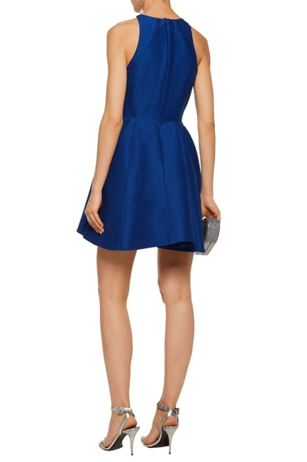 Preload https://img-static.tradesy.com/item/25703779/halston-blue-fluted-cotton-and-silk-blend-mini-mid-length-formal-dress-size-12-l-0-0-650-650.jpg