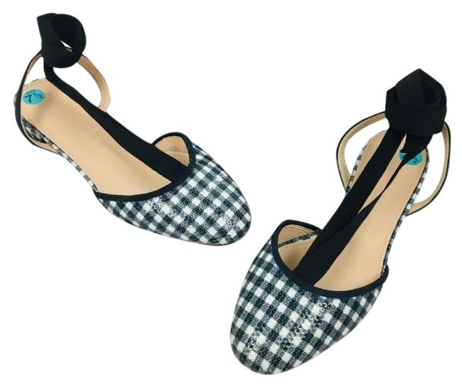 Item - Navy White Ankle Wrap Gingham Sequin Lace Up Flats Size US 7.5 Regular (M, B)