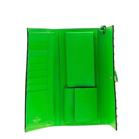 Valentino Neon Green Leather Rockstud Trifold Wallet Image 6