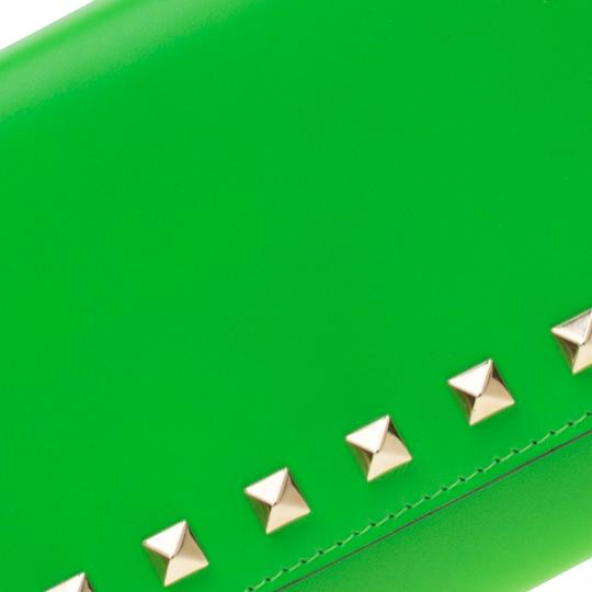 Valentino Neon Green Leather Rockstud Trifold Wallet Image 7
