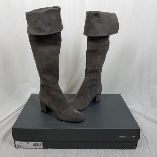 Vince Camuto Riding Equestrian Fashion Tall Gray Boots Image 3