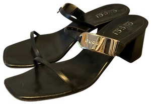 Gucci Leather Silver Black Sandals