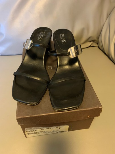 Gucci Leather Silver Black Sandals Image 1