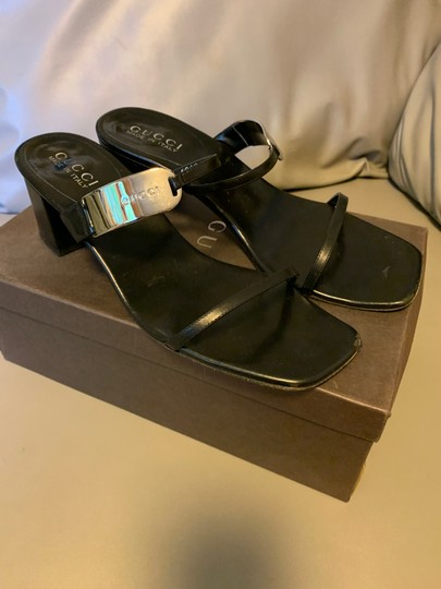 Gucci Leather Silver Black Sandals Image 2