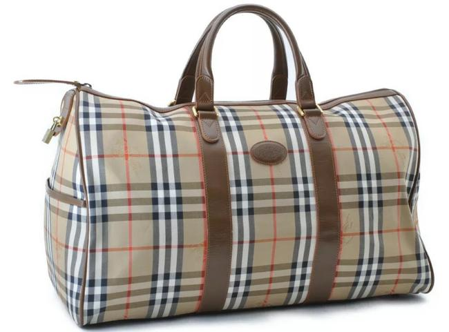 Item - Nova Check Large with Lock & Keys Brown Canvas Weekend/Travel Bag