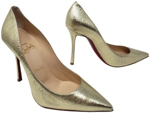 Christian Louboutin Decoltish Metallic So Kate Pigalle Pointed Toe Gold Pumps