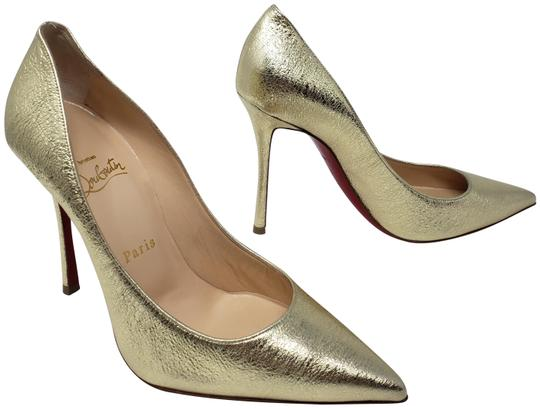 Preload https://img-static.tradesy.com/item/25703942/christian-louboutin-gold-metallic-leather-decoltish-pointed-toe-pumps-size-eu-38-approx-us-8-regular-0-2-540-540.jpg