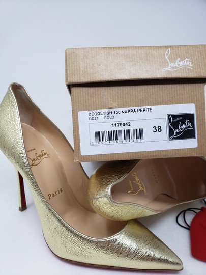 Christian Louboutin Decoltish Metallic So Kate Pigalle Pointed Toe Gold Pumps Image 2