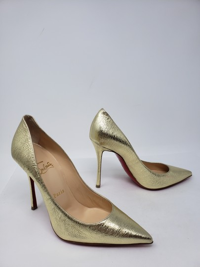 Christian Louboutin Decoltish Metallic So Kate Pigalle Pointed Toe Gold Pumps Image 3