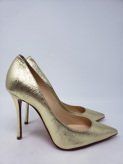 Christian Louboutin Decoltish Metallic So Kate Pigalle Pointed Toe Gold Pumps Image 4