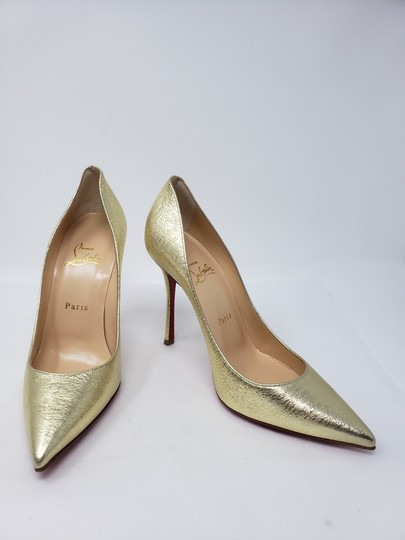 Christian Louboutin Decoltish Metallic So Kate Pigalle Pointed Toe Gold Pumps Image 6