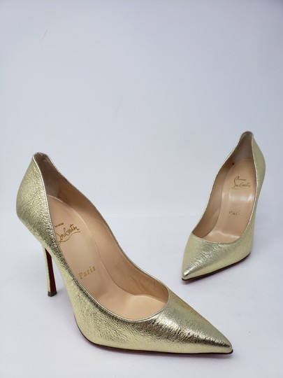Christian Louboutin Decoltish Metallic So Kate Pigalle Pointed Toe Gold Pumps Image 7