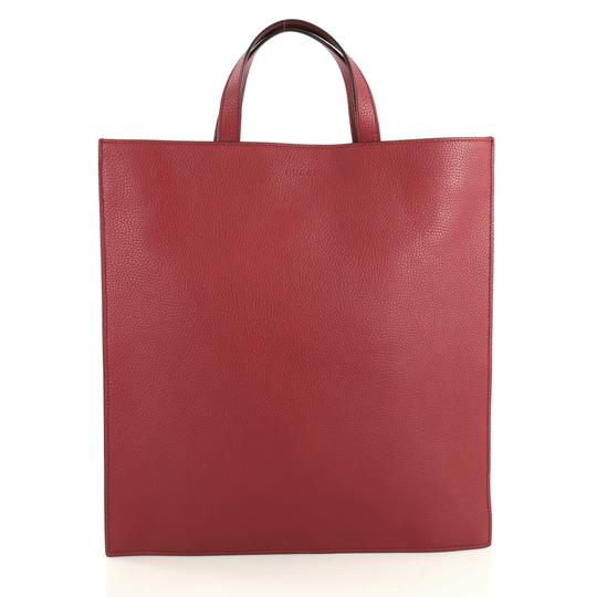 Gucci Convertible Soft Open Leather Tote in red Image 2