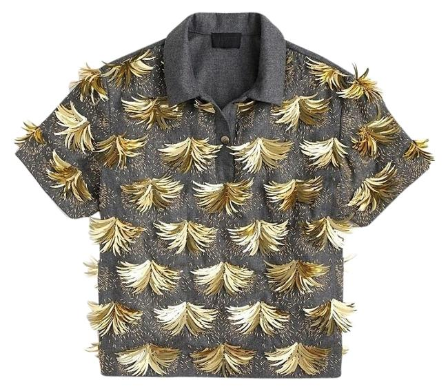 Item - Gray with Gold Embellishments Wool Polo Blouse Size 8 (M)
