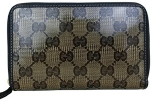 Gucci Gucci Brown Monogram GG Crystal Web Coated Canvas Zip Around Wallet