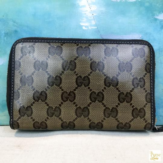 Gucci Gucci Brown Monogram GG Crystal Web Coated Canvas Zip Around Wallet Image 1