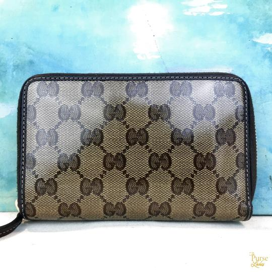 Gucci Gucci Brown Monogram GG Crystal Web Coated Canvas Zip Around Wallet Image 3