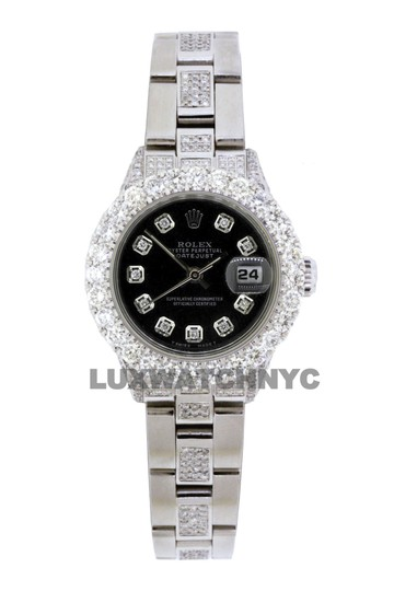 Preload https://img-static.tradesy.com/item/25703979/rolex-black-dial-5ct-ladies-26mm-datejust-stainless-with-appraisal-watch-0-1-540-540.jpg