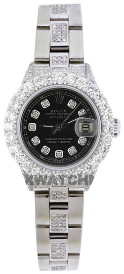Preload https://img-static.tradesy.com/item/25704006/rolex-black-dial-5ct-ladies-26mm-datejust-stainless-with-appraisal-watch-0-2-540-540.jpg