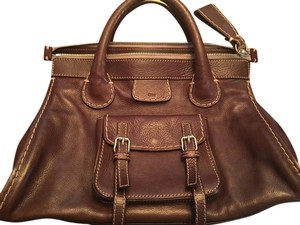 Chloé Edith Designer Purse Satchel in Brown Leather