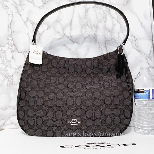 Coach Monogram Leather Zip Top Round Slouchy Shoulder Bag Image 1