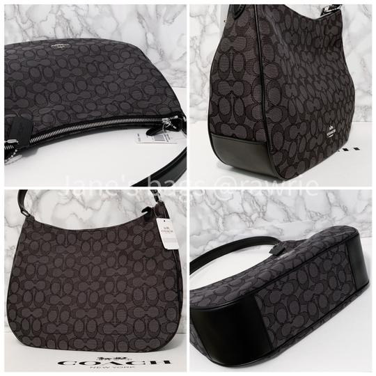 Coach Monogram Leather Zip Top Round Slouchy Shoulder Bag Image 3