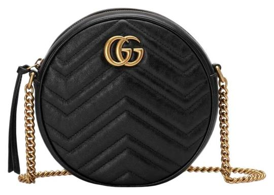 Preload https://img-static.tradesy.com/item/25704059/gucci-marmont-box-new-mini-round-gg-dustbag-care-booklet-tag-black-matelasse-chevron-leather-with-he-0-1-540-540.jpg