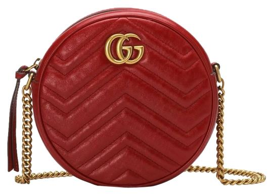Preload https://img-static.tradesy.com/item/25704085/gucci-marmont-box-new-mini-round-gg-dustbag-care-booklet-tag-red-matelasse-chevron-leather-with-hear-0-1-540-540.jpg