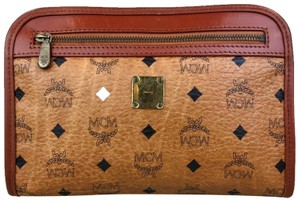 MCM Visetos Cognac Monogram Brown Clutch