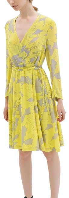 Item - Neon Yellow and Grey Printed Crossover Mid-length Work/Office Dress Size 4 (S)