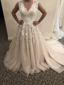 Allure Bridals Champagne / Ivory / Silver Tulle / Lace 9272 Traditional Wedding Dress Size 12 (L)