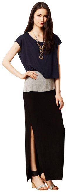 Item - Black Grey and Navy Blue Askew T-shirt By Stacy Chang Long Casual Maxi Dress Size 2 (XS)