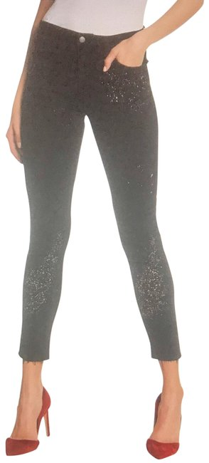 Item - Black Dark Rinse Charlie In Ulla Paint Splatter High Skinny Straight Leg Jeans Size 27 (4, S)