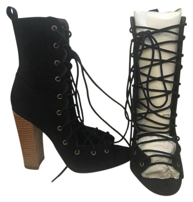 Item - Black Sierra Lace-up Chunky Heel Boots/Booties Size US 7 Regular (M, B)