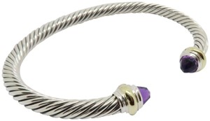 David Yurman 5mm cable bracelet with gold trim large size