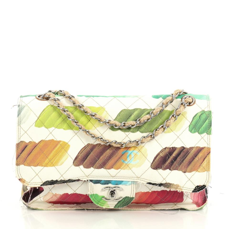 Chanel Classic Flap Colorama Quilted Watercolor Jumbo White Canvas Shoulder Bag 42 Off Retail