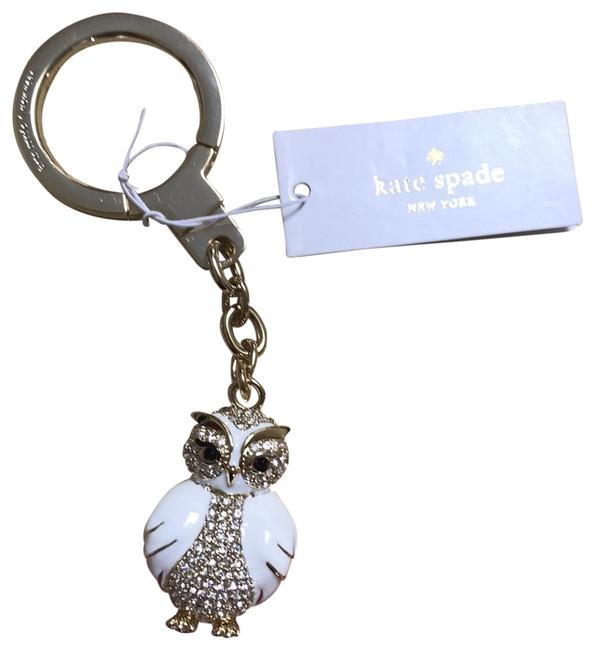 Item - White and Gold Owl Key Fob