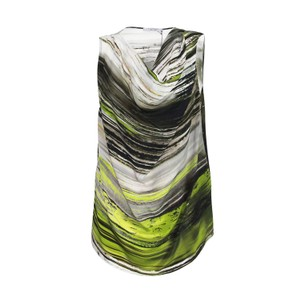 D. EXTERIOR Cowl-neck Silk Made In Italy Camisole Top Green & Gray