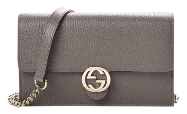 Gucci Wallet on Chain Leather Gray Cross Body Bag Gucci Wallet on Chain Leather Gray Cross Body Bag Image 1