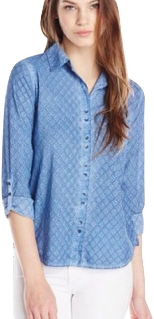 Item - Blue Allover Eyelet Dye Technique Long-sleeve Style #86s23w05ma Button-down Top Size 6 (S)