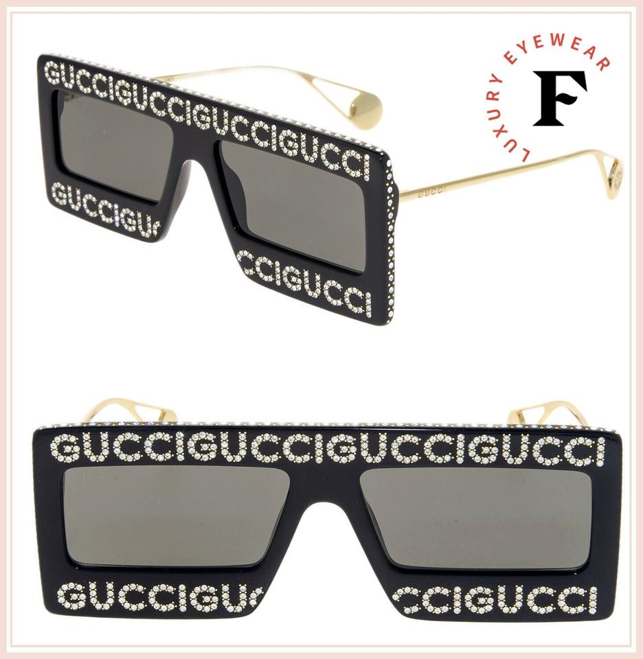 7b12f69f9745 Gucci Black Crystal Hollywood Forever 0431 Gold Square Gg0431s Sunglasses