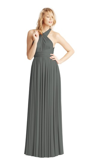 Twobirds Charcoal Jersey Classic Ballgown Modern Bridesmaid/Mob Dress Size OS (one size) Image 1