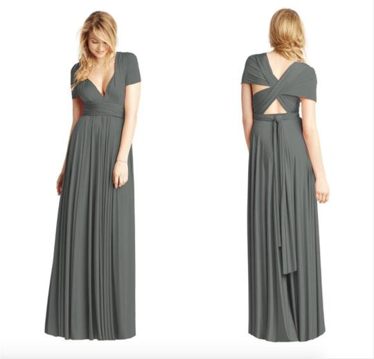 Twobirds Charcoal Jersey Classic Ballgown Modern Bridesmaid/Mob Dress Size OS (one size) Image 2