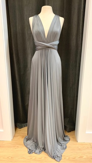 Twobirds Charcoal Jersey Classic Ballgown Modern Bridesmaid/Mob Dress Size OS (one size) Image 3