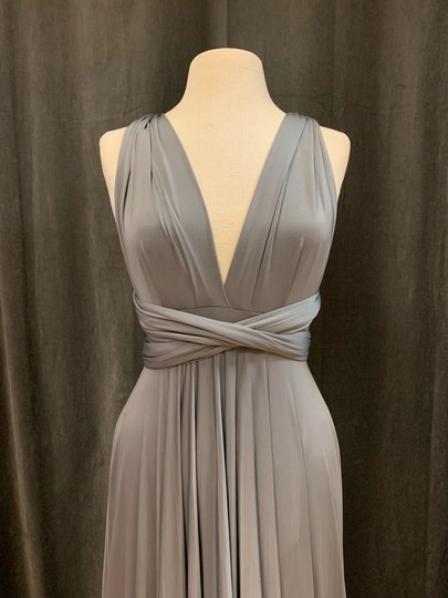 Twobirds Charcoal Jersey Classic Ballgown Modern Bridesmaid/Mob Dress Size OS (one size) Image 4