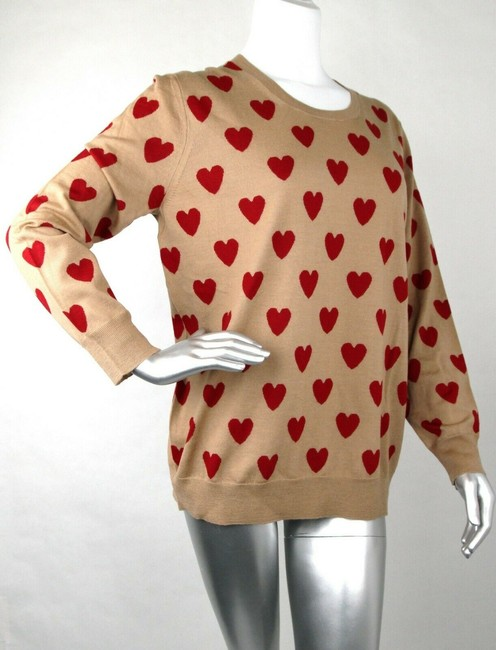 Burberry Women's Camel/Red Wool Crewneck Sweater Image 1