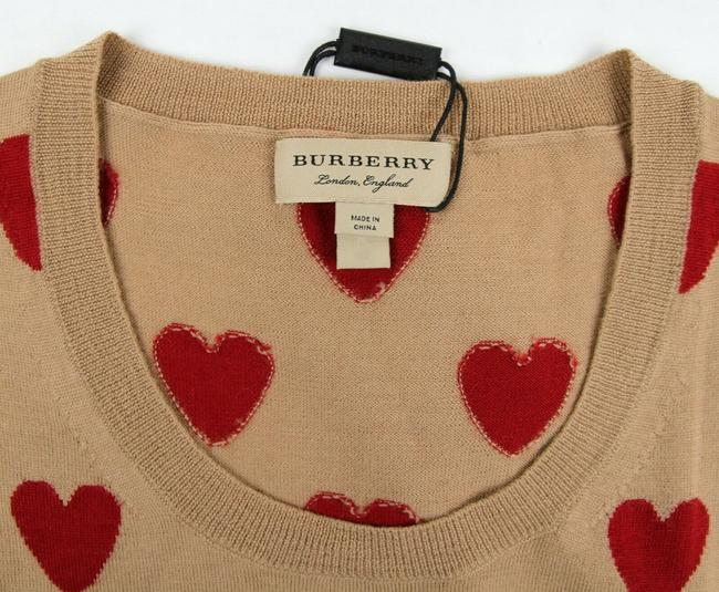 Burberry Women's Camel/Red Wool Crewneck Sweater Image 5
