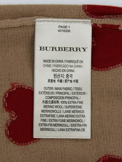 Burberry Women's Camel/Red Wool Crewneck Sweater Image 6